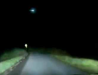 Watch: Dazzling fireball over Irish sky caught on dashcam