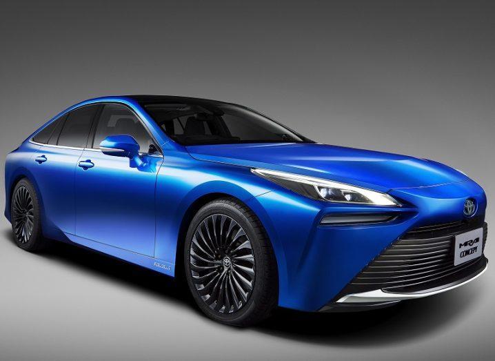 Illustration of a new Toyota Mirai coloured blue.