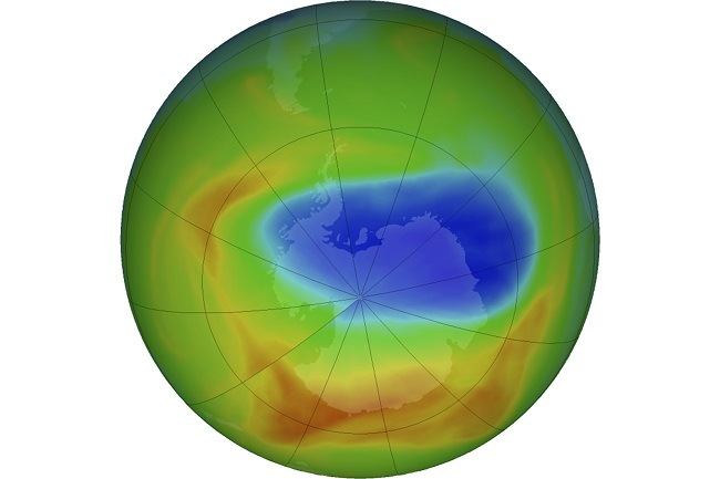 Satellite map showing size of the hole in the ozone layer over Antarctica.
