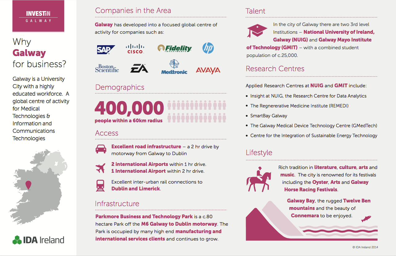 Infographic with details on business in Galway, its workforce and its infrastructure.