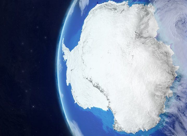 Antarctica from space on beautiful model of planet Earth with very detailed planet surface and clouds.