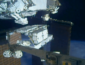 Astronauts lug 180kg replacement batteries to power Space Station