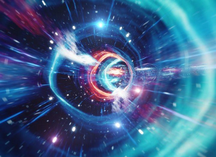 3D illustration of travelling through a wormhole coloured blue, pink and purple.