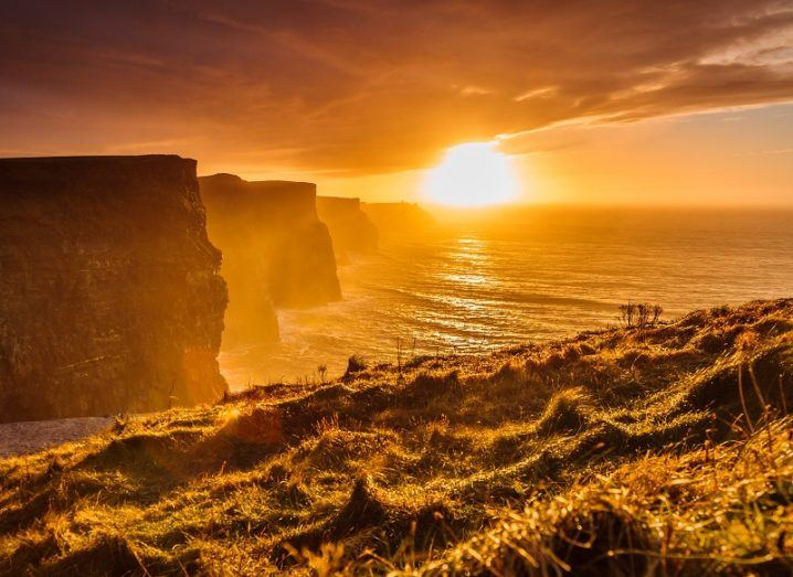 Looking over the Cliffs of Moher at sunset.