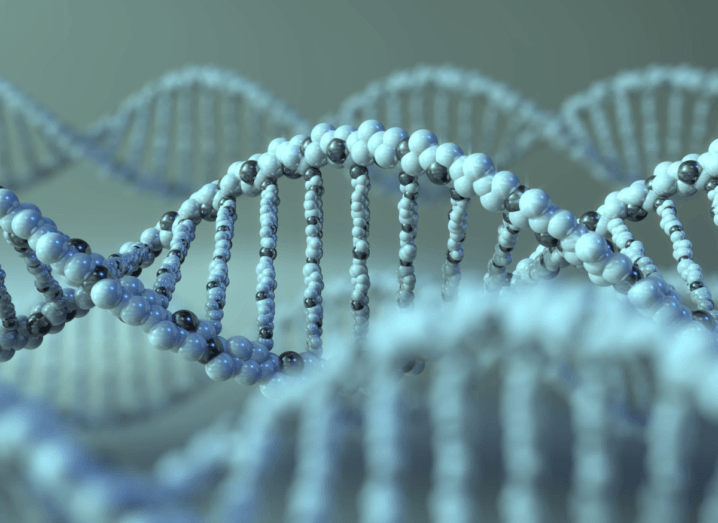 A 3D rendering of a DNA molecule. It is various shades of blue.