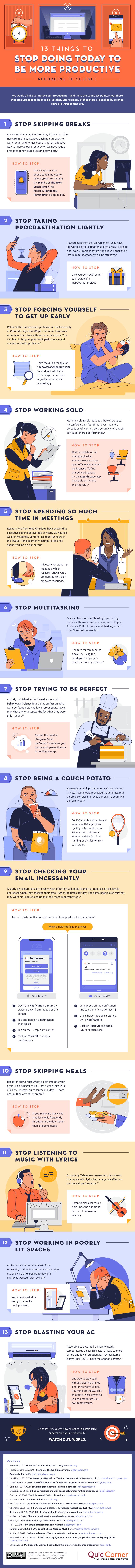 Infographic of 13 things to stop dong today.