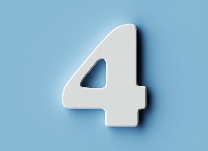 A three-dimensional white number four on a sky blue background.