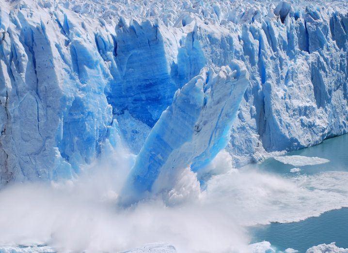 Enormous, collapsing glacier.