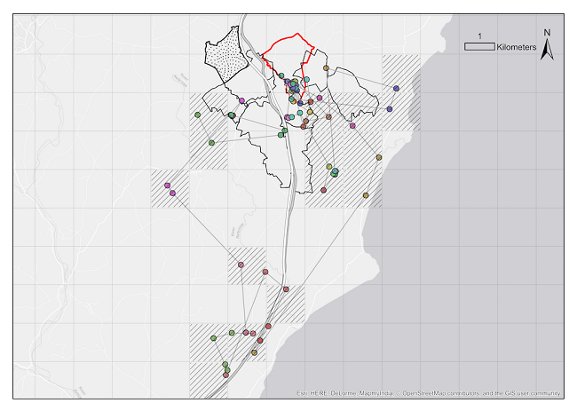 Map showing a badger's movement between different social groups.