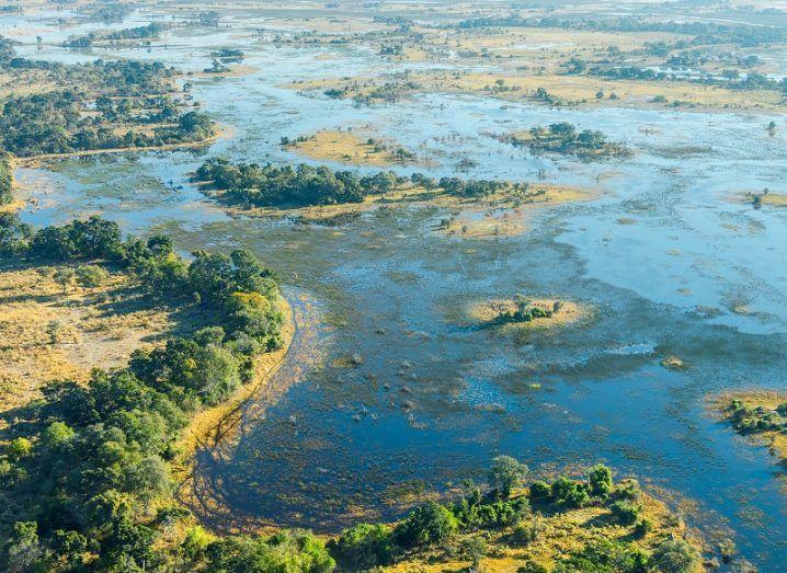 Aerial view of the Okavango delta in Botswana.