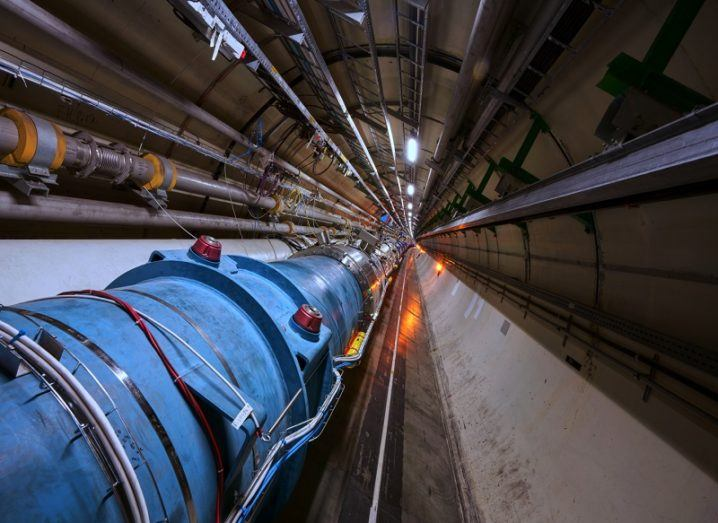 A tunnel in the Large Hadron Collider facility.