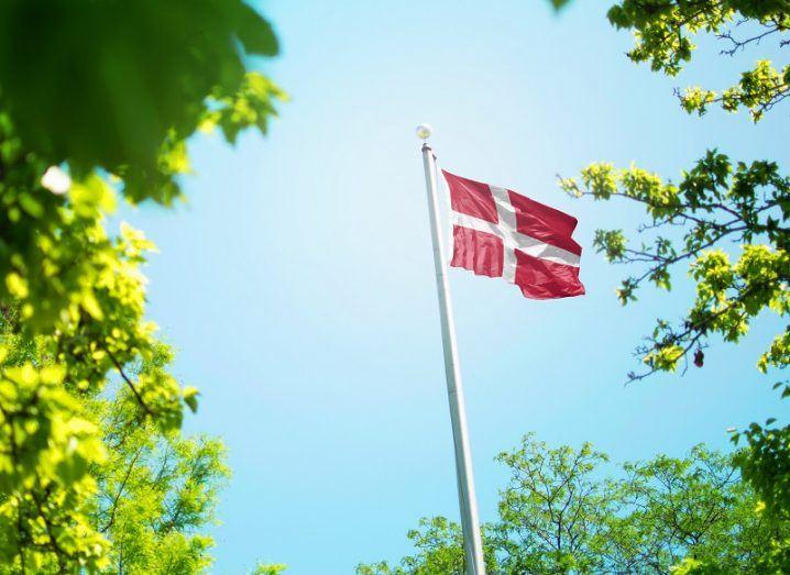 Denmark flag on a pole seen through greenery against a blue sky background.
