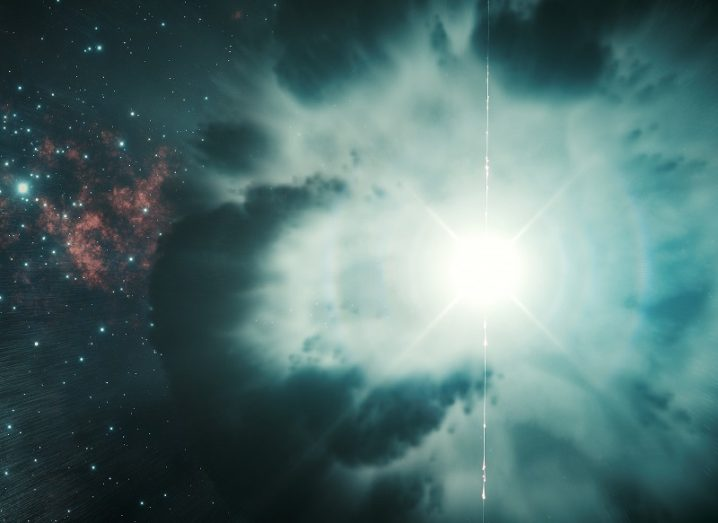 Illustration of a gamma-ray burst with a brilliant white light surrounded by blue matter and a starry background.