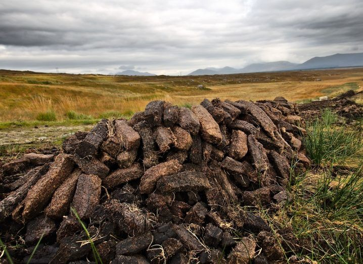 Pile of turf sods in a field against a grey, cloudy sky.
