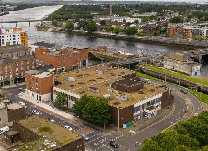 Photo taken by a drone of the future UL City Campus in Limerick city.