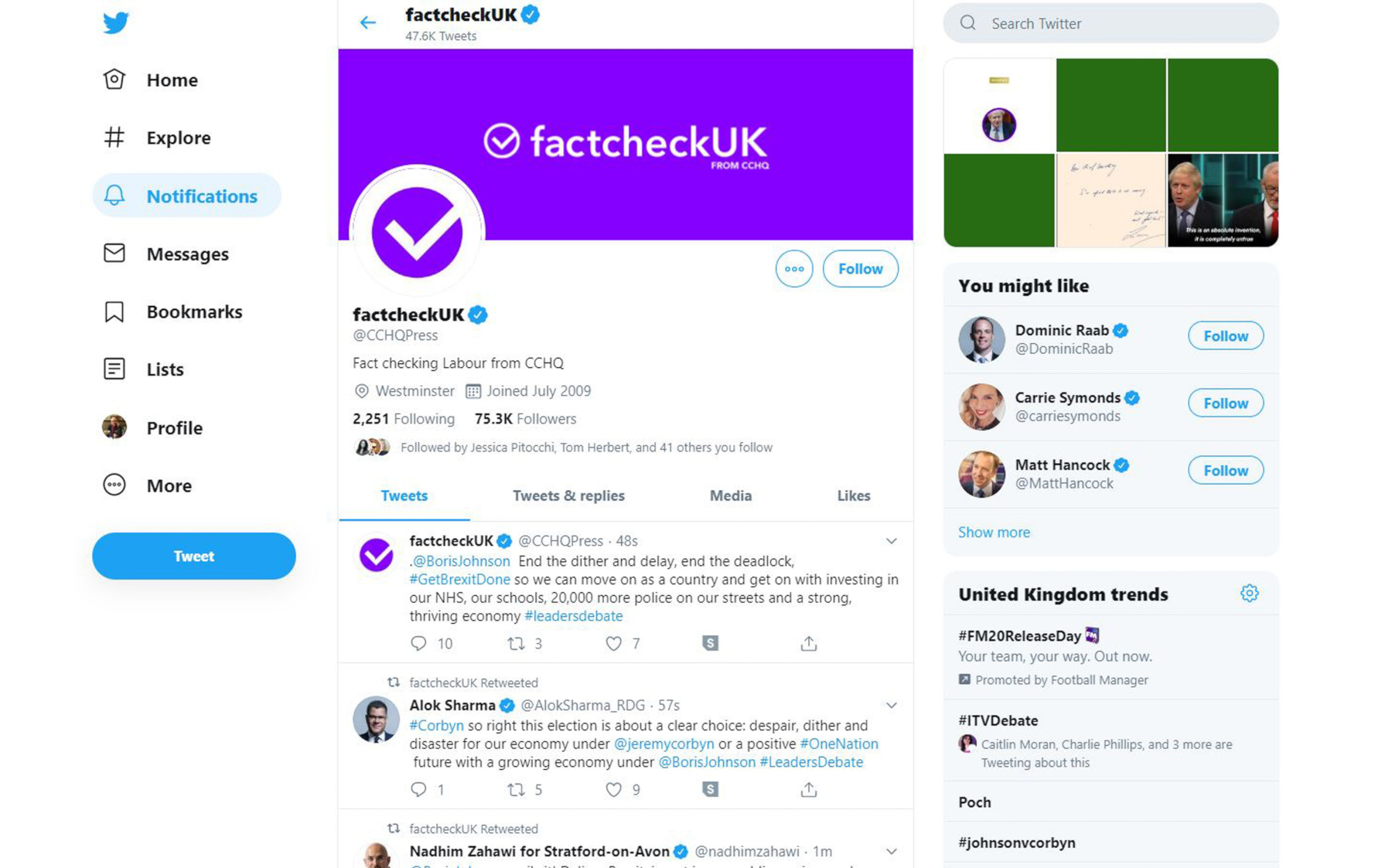 "A screenshot of the CCHQ Press Twitter account while it was rebranded as a fact-checking account. It has a purple header photo that says ""Fact-check UK"" and has retweeted accounts supporting Boris Johnson."