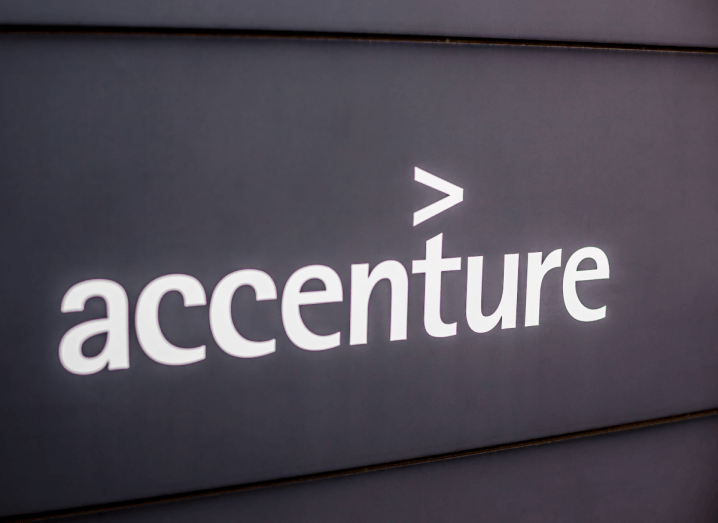 The Accenture logo on a black background.