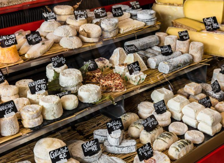 An array of cheeses on the counter of a small store at the Aligre Market in Paris, France.