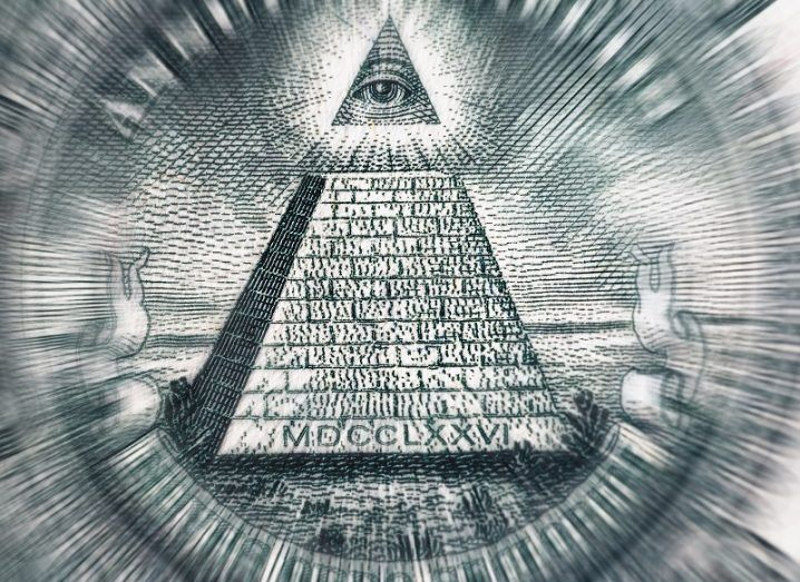 The all-seeing 'eye of providence' on top of the pyramid found on the US dollar bill.