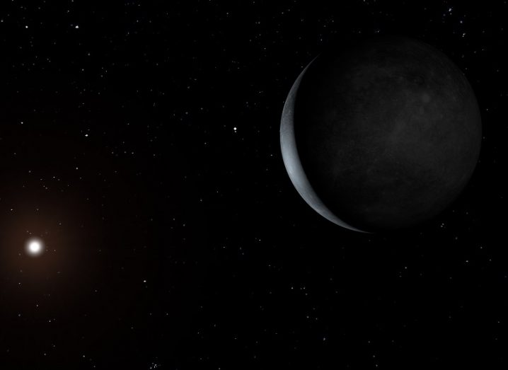 Shadowed exoplanet and a distant star.