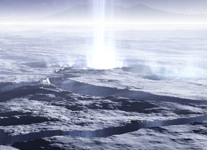 Illustration of fissures on Enceladus spewing water.