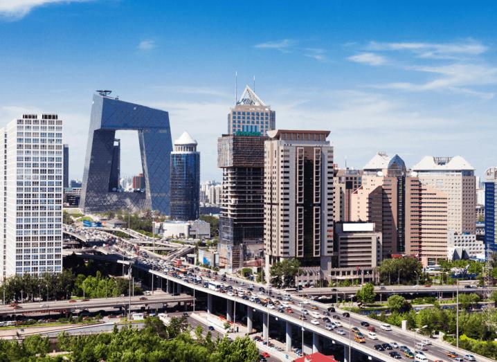 Modern skyscrapers and a motorway between them in Beijing.