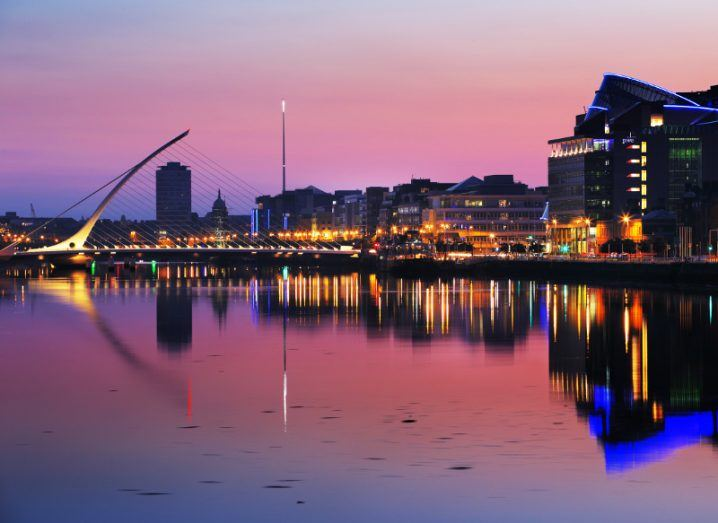 North bank of River Liffey in Dublin at night