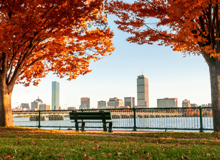 A view of the Boston skyline from across the river, with autumn trees and a bench overlooking the body of water.