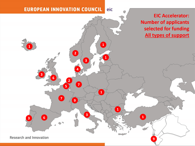 Map of where the EIC funded start-ups.