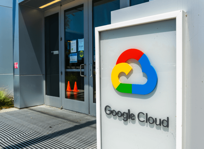 The Google Cloud logo, which is in the shape of a cloud and coloured in red, yellow, green and blue, outside of a building at Google's HQ in California.