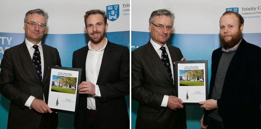 Side-by-side images of the same man presenting framed certificates to two younger men.