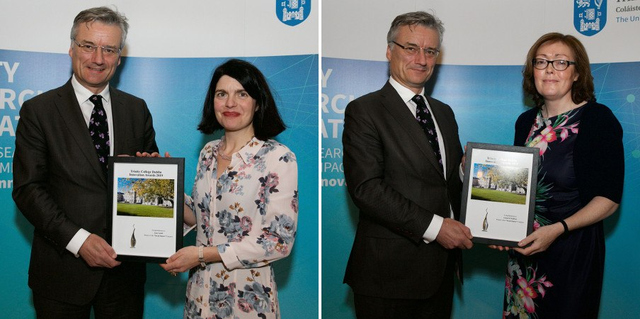 Side-by-side images of the same man presenting framed award certificates to two different women in floral dresses.