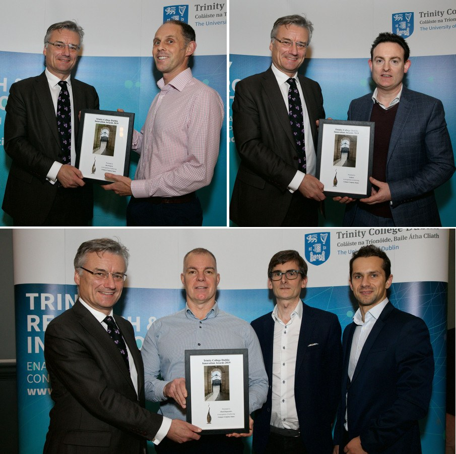 A trio of images of men in suits receiving framed certificates from Patrick Prendergast.