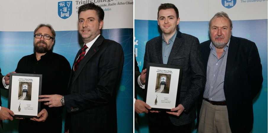 Side-by-side images of groups of two men receiving framed certificates.