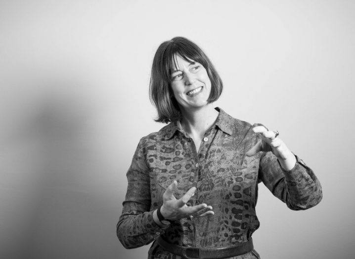 Deirdre Mortell, CEO at Social Innovation Fund, in black and white, standing against a neutral-coloured wall.