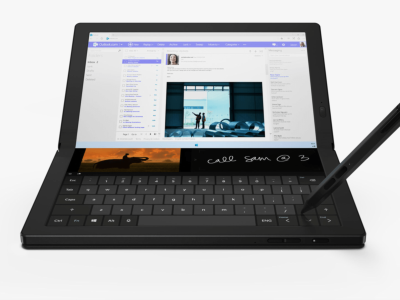 A foldable tablet and a stylus.