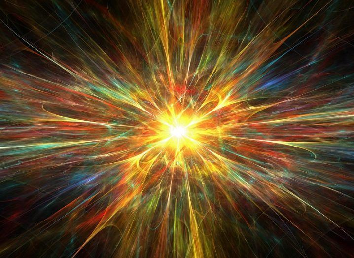 Illustration of a colourful explosion with a bright yellow centre.