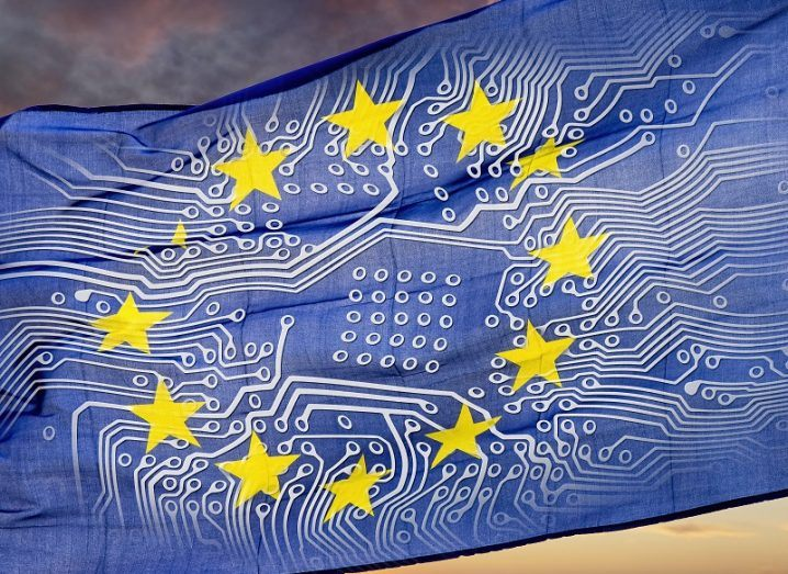 EU flag with circuitry superimposed on it.