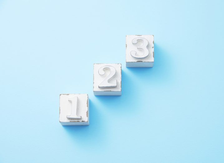 Three white blocks numbered one, two and three, placed in increasing order on a sky-blue background.