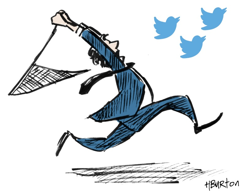 Illustration of a man in a suit and tie chasing Twitter bird icons with a butterfly net.