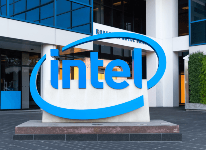 Intel's logo outside of the company's HQ.