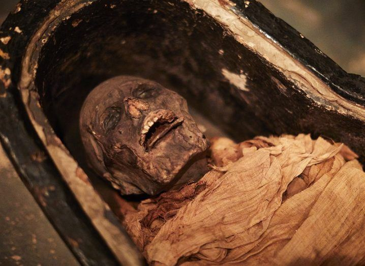 The mummified body of Nesyamun in his sarcophagus with his mouth open.