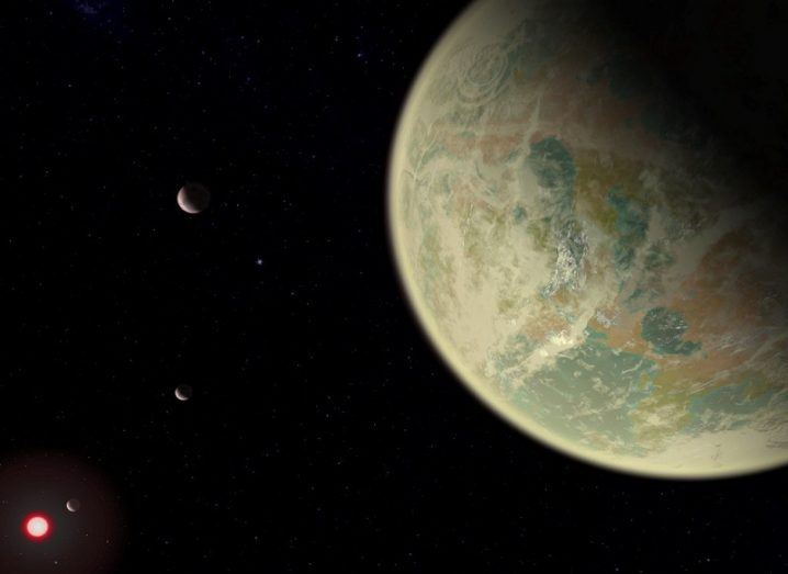 Conceptual image of a water-bearing exoplanet with an oxygen-rich atmosphere and a distant star in the bottom-left corner.