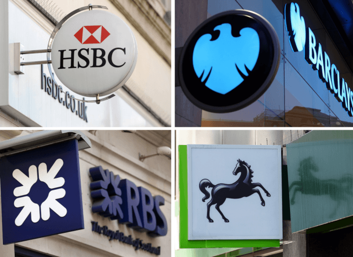 The logos of Barclays, HSBC, Royal Bank of Scotland and Lloyds, the banks that have been affected by the Travelex ransomware attack.
