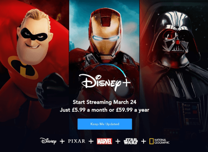 A graphic showing various Disney characters including Mr Incredible, Ironman and Darth Vader.