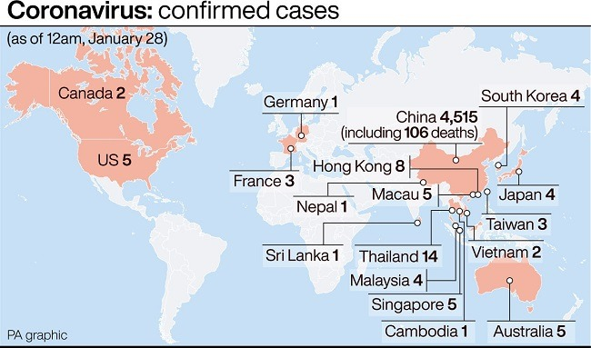Map of the world showing countries with confirmed coronavirus cases.