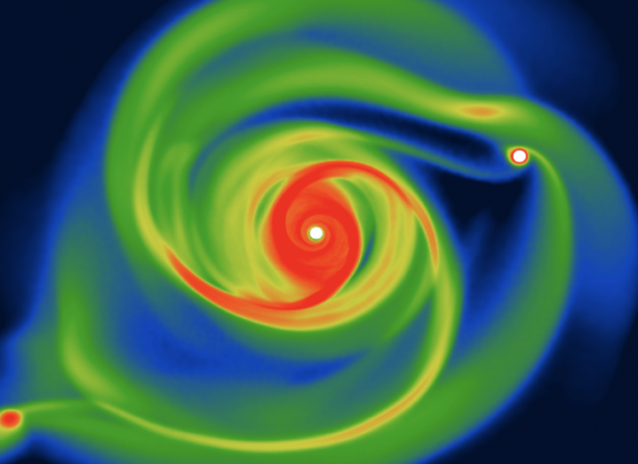 Heat map image of planets circling a central star.