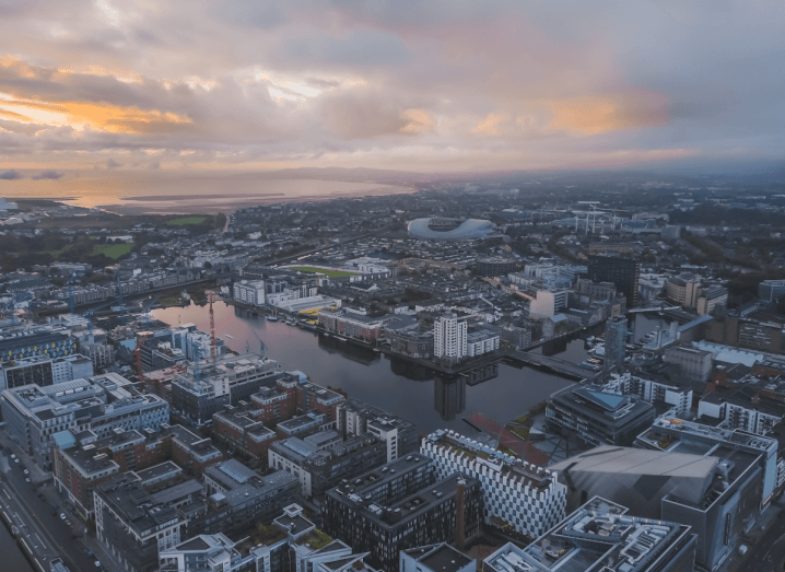 An aerial view of Dublin's Grand Canal Dock.