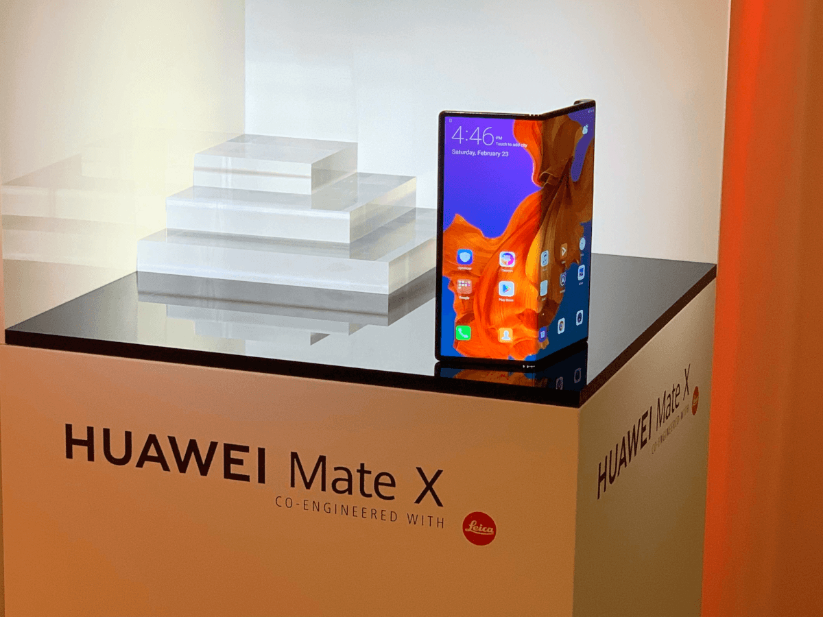 A foldable smartphone on display.