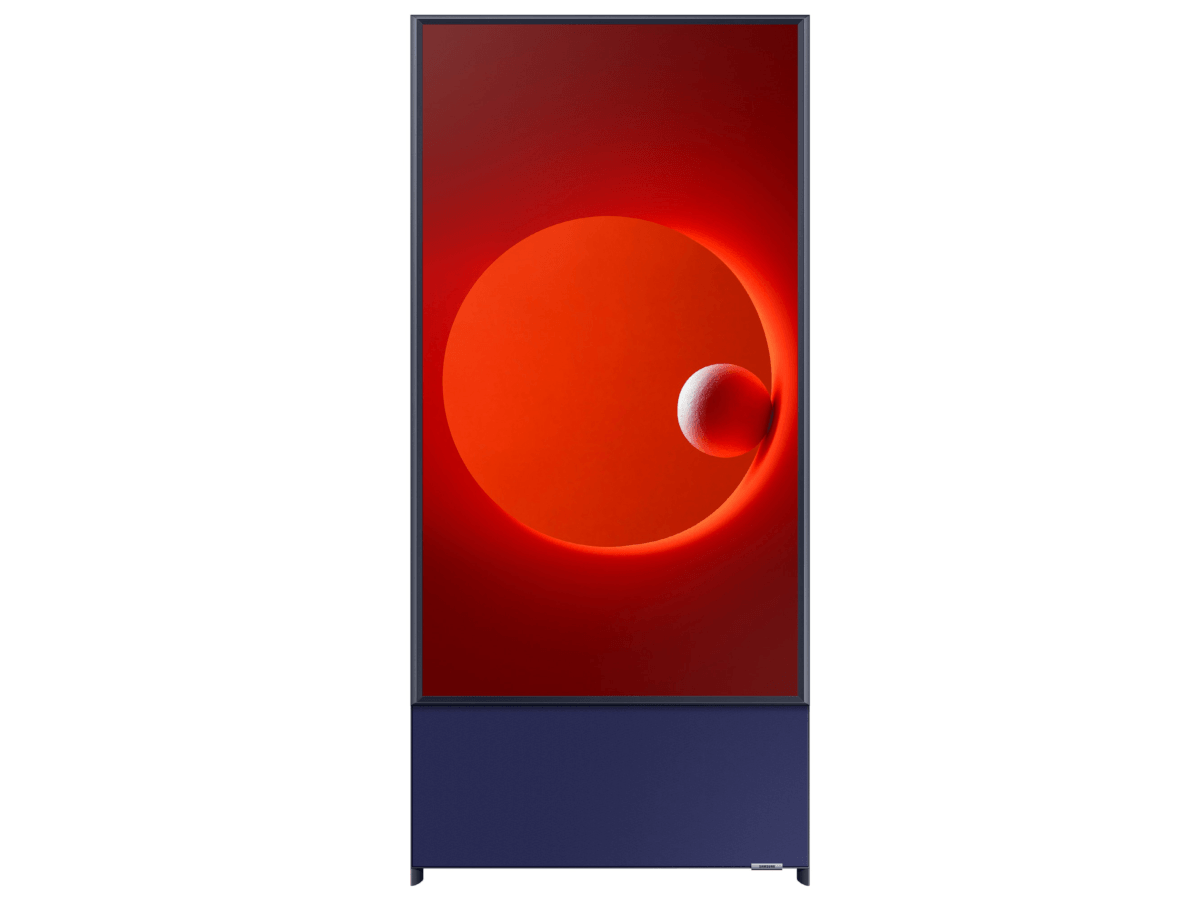 A vertical television screen on a stand, displaying a red video.